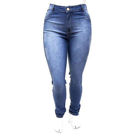 Calça Jeans Plus Size Cintura Alta Hot Pants Azul Básica