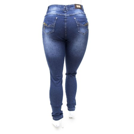 Calça Jeans Plus Size Hot Pants Cintura Alta Azul Escura
