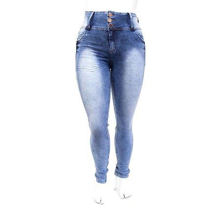 Calça Jeans Feminina Pluz Size Manchada Thomix