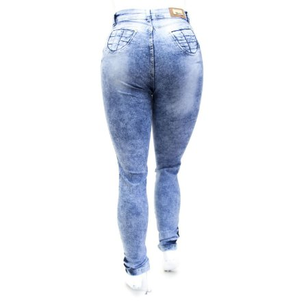 Calça Jeans Feminina Plus Size Manchada Hot Pants Cheris
