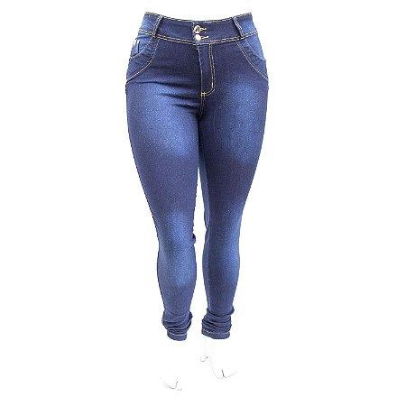 Calça Jeans Feminina Plus Size Azul Escura com Brilho Cheris