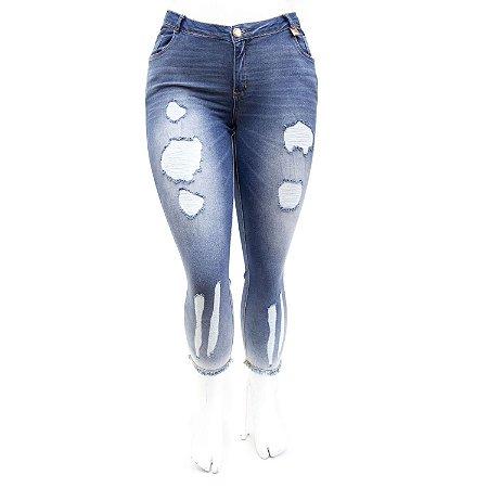 Calça Jeans Feminina Plus Size Rasgadinha Cropped Darlook