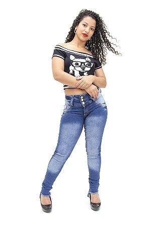 Calça Jeans Feminina Cós Largo Azul Cheris