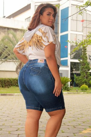 Bermuda Jeans Plus Size Azul Cheris