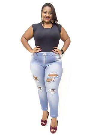 Calça Plus Size Jeans Rasgadinha Cropped Bokker