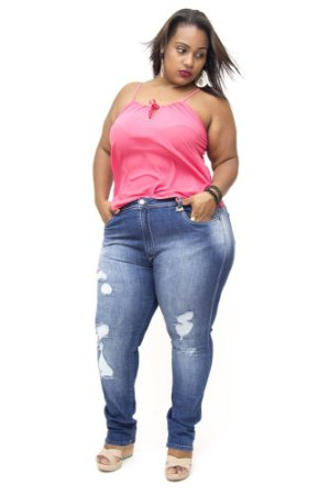 Calça Plus Size Jeans Cigarrete Rasgadinha Escura Bokker