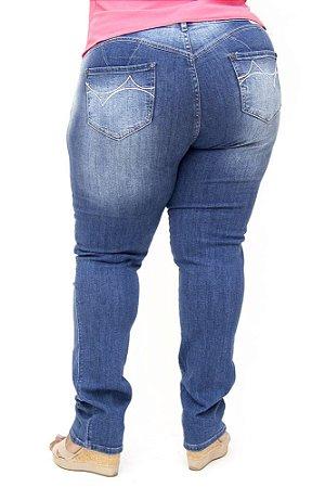 Calça Jeans Bokker Plus Size Reta Rasgada Azul