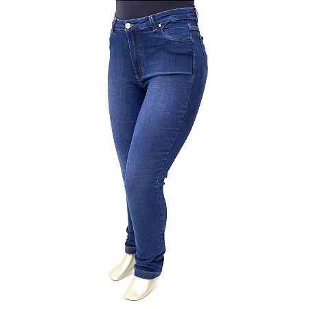 Calça Plus Size Jeans Azul Básica Cambos