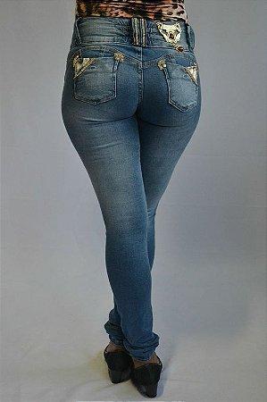 Calça Jeans Afront Levanta Bumbum c/ Detalhes em Strass