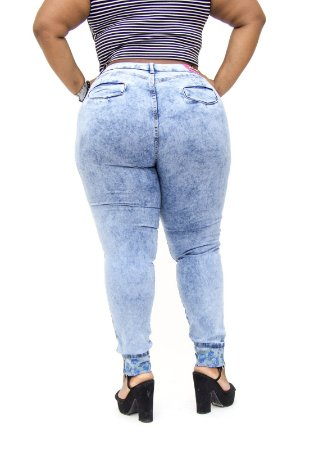 Calça Jeans Cheris Plus Size Skinny Panmela Azul