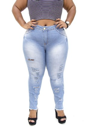 Calça Jeans Plus Size Feminina Rasgada Cheris Hot Pants