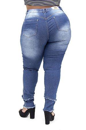 Calça Jeans Plus Feminina Size Azul Cheris Hot Pants