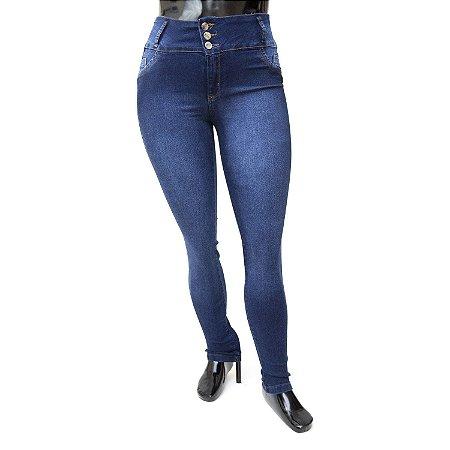 Calça Jeans Plus Size Feminina Escura com Elástico Helix