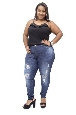 Calça Jeans Plus Size Feminina Rasgadinha Darlook Hot Pants