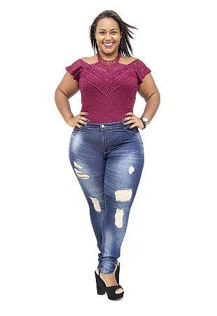 Calça Jeans Darlook Plus Size Skinny Rasgada Susani Azul