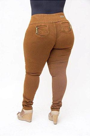 Calça Jeans Plus Size Feminina Marrom Helix Grasiele