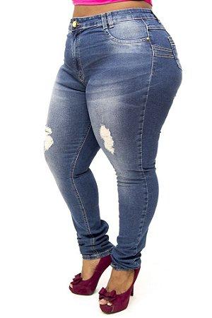 Calça Jeans Plus Size Feminina Rasgadinha Sawary Fabiola