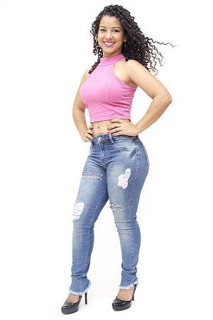 Calça Jeans Feminina Rasgadinha Sawary Tamirys