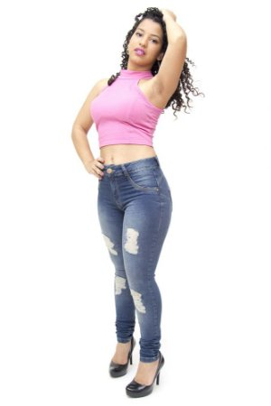 Calça Jeans Feminina Skinny Rasgadinha Biotipo Wanderleia