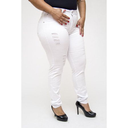 Calça Jeans Plus Size Rasgadinha Branca MC2 Helayne