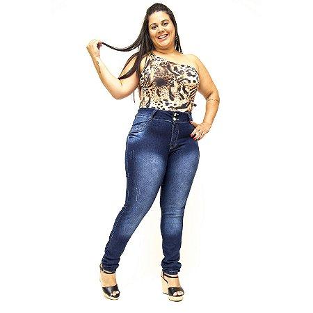 Calça Jeans Plus Size Escura Cintura Alta Thomix Maya