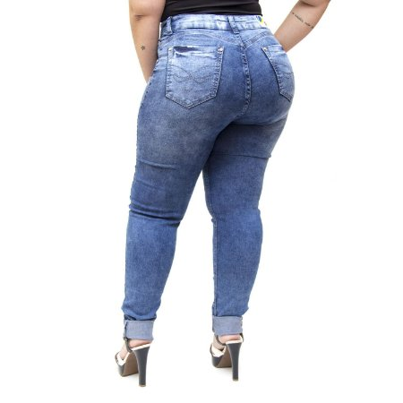 Calça Jeans Cheris Plus Size Skinny Caliandra Azul