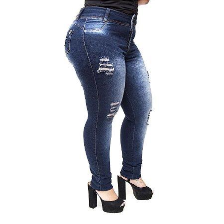 Calça Jeans Credencial Plus Size Skinny Rasgada Lilian Azul