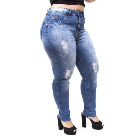 Calça Jeans MC2 Plus Size Skinny Tainar Azul