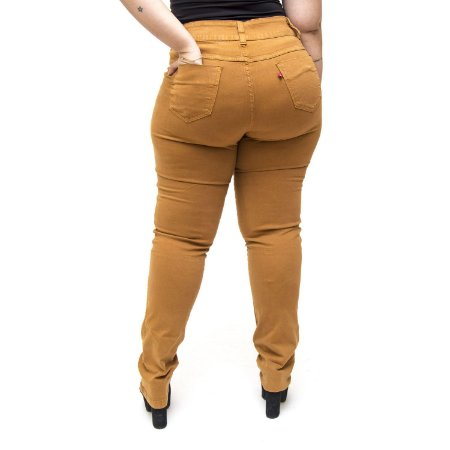 Calça Jeans Cambos Plus Size Skinny Ires Caramelo