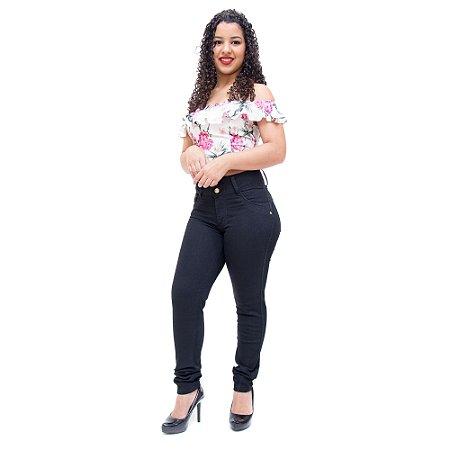 Calça Jeans Feminina Cheris Skinny Aura Preta