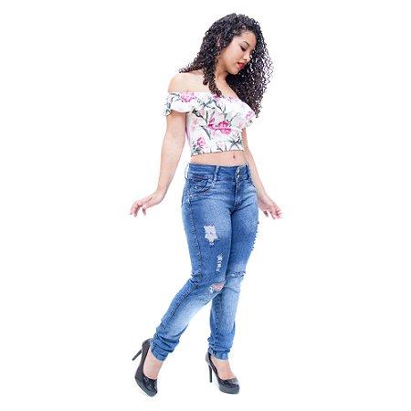 Calça Jeans Feminina Cheris Skinny Dilciane Azul