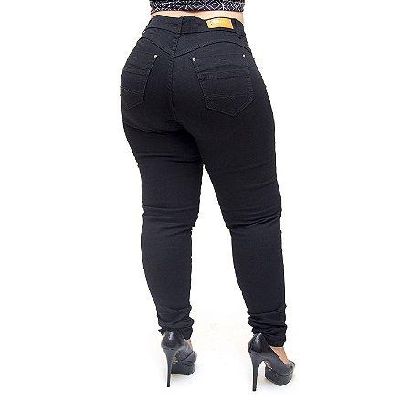 Calça Jeans Cheris Plus Size Skinny Dalete Preta