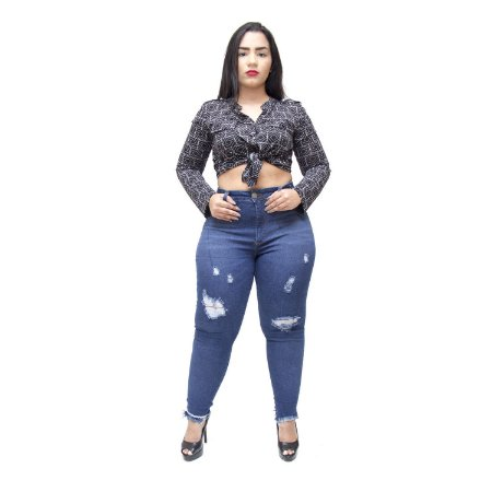 Calça Jeans Cambos Plus Size Skinny Kethile Azul