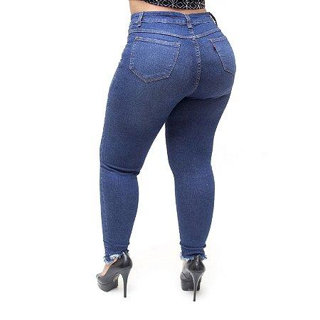 Calça Jeans Cambos Plus Size Skinny Kethile Azul