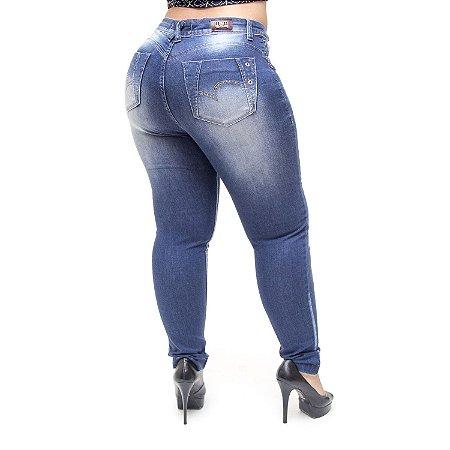 Calça Jeans Xtra Charmy Plus Size Skinny Alania Azul