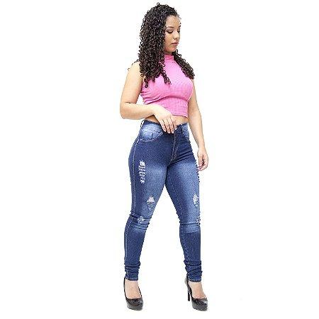 Calça Jeans Feminina Helix Rasgadinha Skinny Jurema Azul