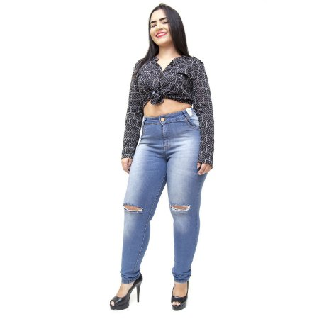 Calça Jeans Credencial Plus Size Skinny Ivonilde Azul