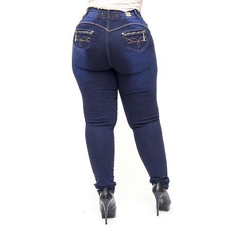 Calça Jeans Cheris Plus Size Skinny com Elástico Nayan Azul