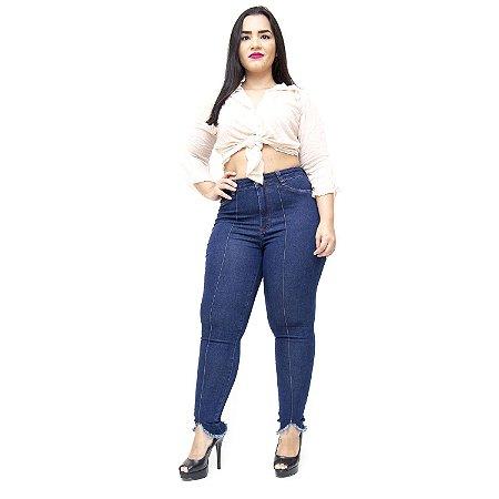 Calça Jeans Cambos Plus Size Skinny Nervura Derlane Azul