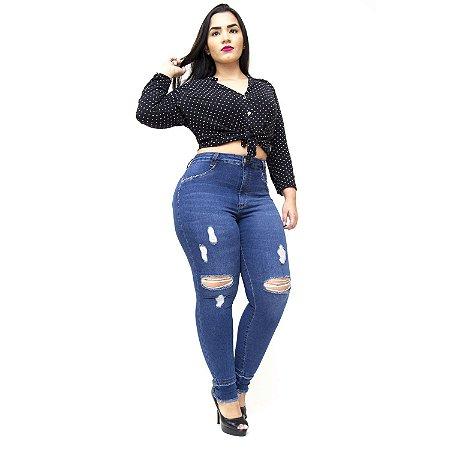Calça Jeans Cambos Plus Size Skinny Rasgadinha Tayla Azul