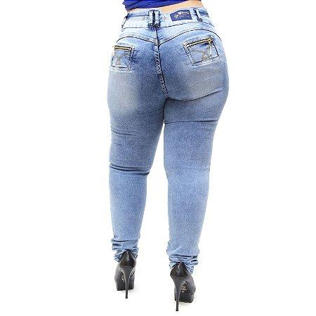 Calça Jeans Cheris Plus Size Skinny Manchada Wesliane Azul