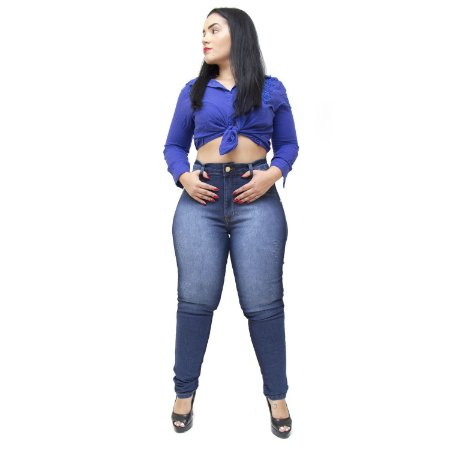 Calça Jeans Cheris Plus Size Skinny Hot Pants Cledileia Azul