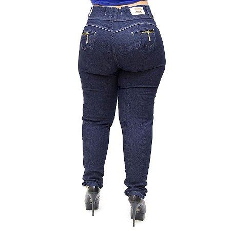 Calça Jeans Cheris Plus Size Skinny Escura Janaline Azul