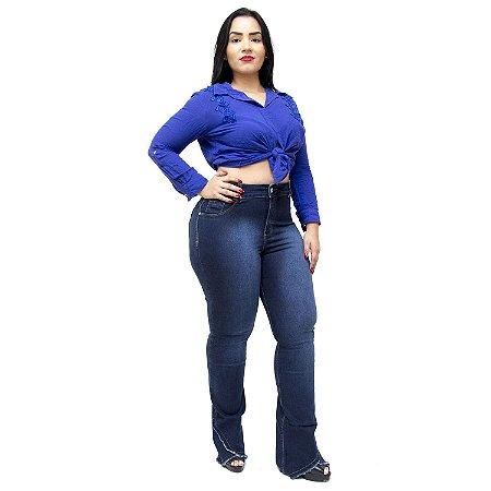 Calça Jeans Credencial Plus Size Flare Aldaiza Azul