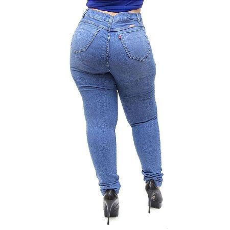Calça Jeans Feminina Cambos Plus Size Skinny Nalita Azul