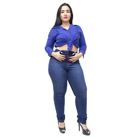 Calça Jeans Feminina Cambos Plus Size Skinny Edvone Azul