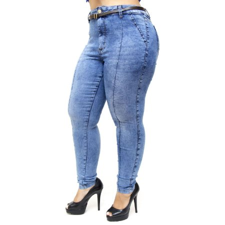 Calça Feminina Cambos Plus Size Skinny Carlessandra Azul