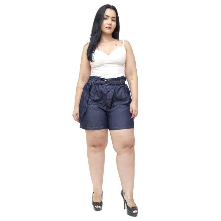 Shorts Feminino Cambos Plus Size Clochard Rosenildes Azul