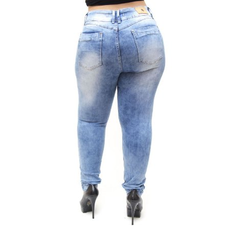 Calça Jeans Xtra Charmy Plus Size Skinny Hevelin Azul