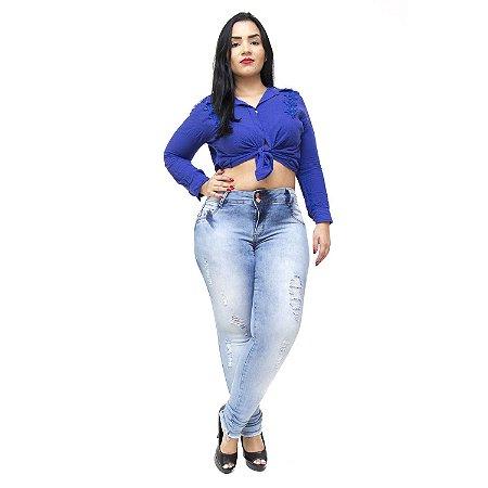 Calça Jeans Feminna Deerf Plus Size Skinny Ingride Azul